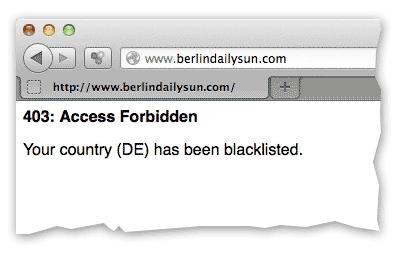 Berlin News: Berlin Daily: country blacklisted error message