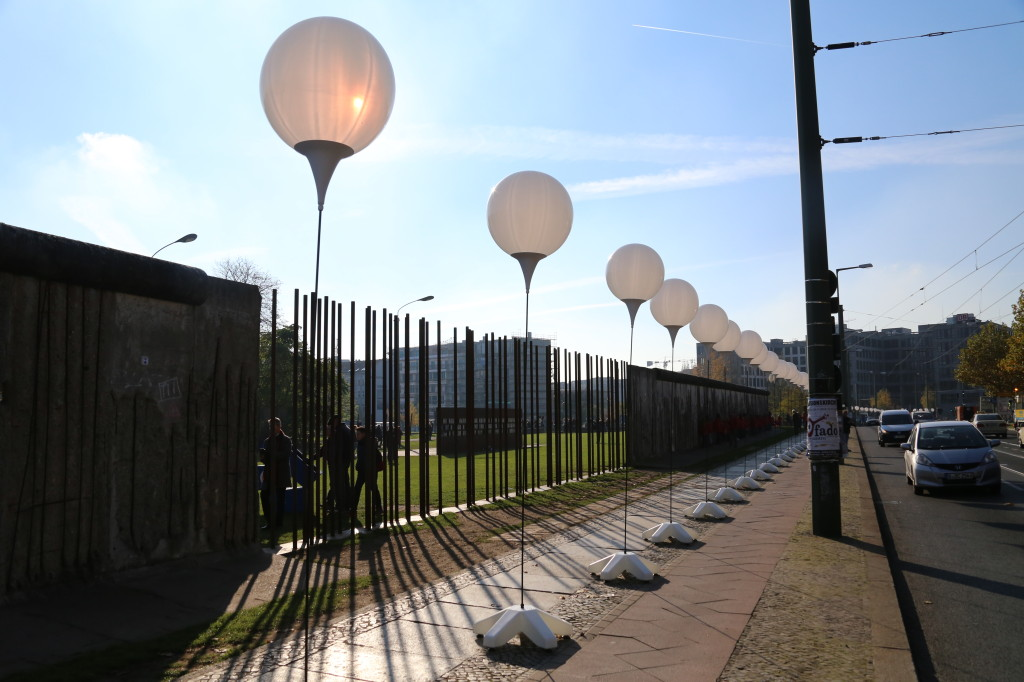 Berlin Wall and balloons at Bernauer- Street light border