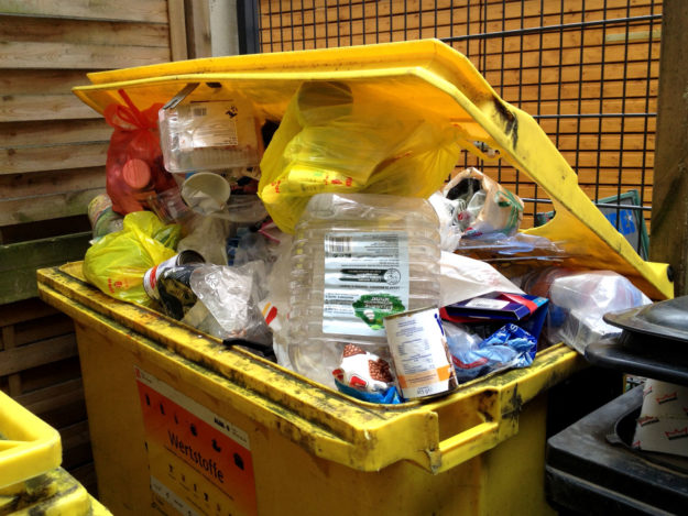 yellow trash bin: packaging waste, plastic, wrapping, other recyclable material