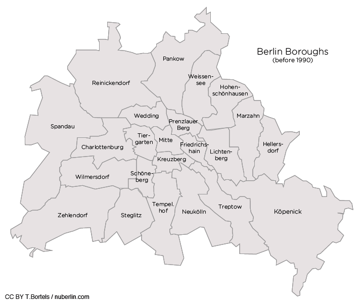 Berlin Map: Berlin's boroughs before 1990