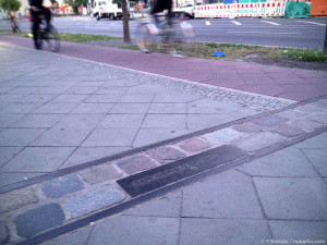 Berlin Wall memorial line near Bernauer Strasse / Mauaerpark