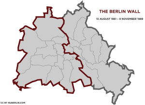 Map of Berlin Wall 1961-1989