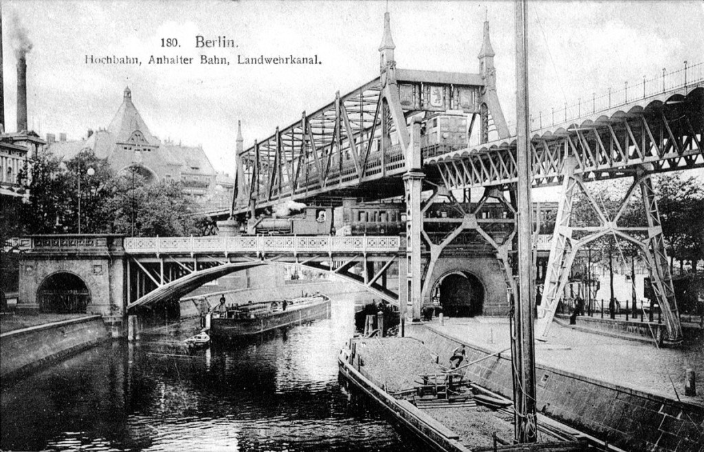 Historical Postcard: Berlin Kreuzberg U-Bahn and Train Bridge Landwehrkanal
