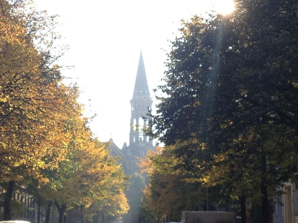 Berlin Weather October Autumn rare Sunshine, Zionskirche, Berlin Mitte