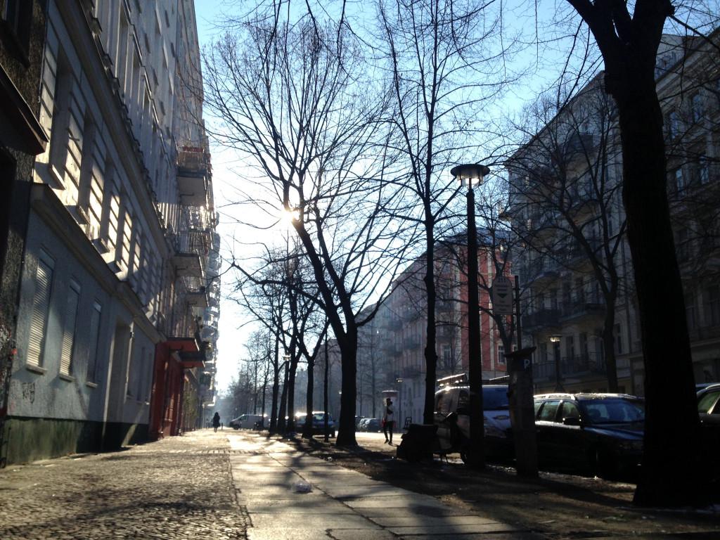 Berlin Winter Weather - sunshine on Oderberger Stasse Prenzlauer Berg in January