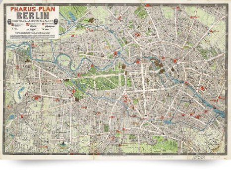 1905 Berlin Vintage Street Map of Berlin Germany