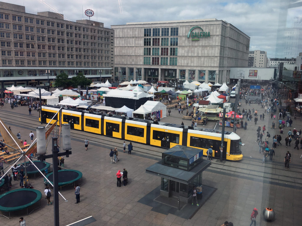 Berlin Public Transport: a Tram crossing Alexanderplatz