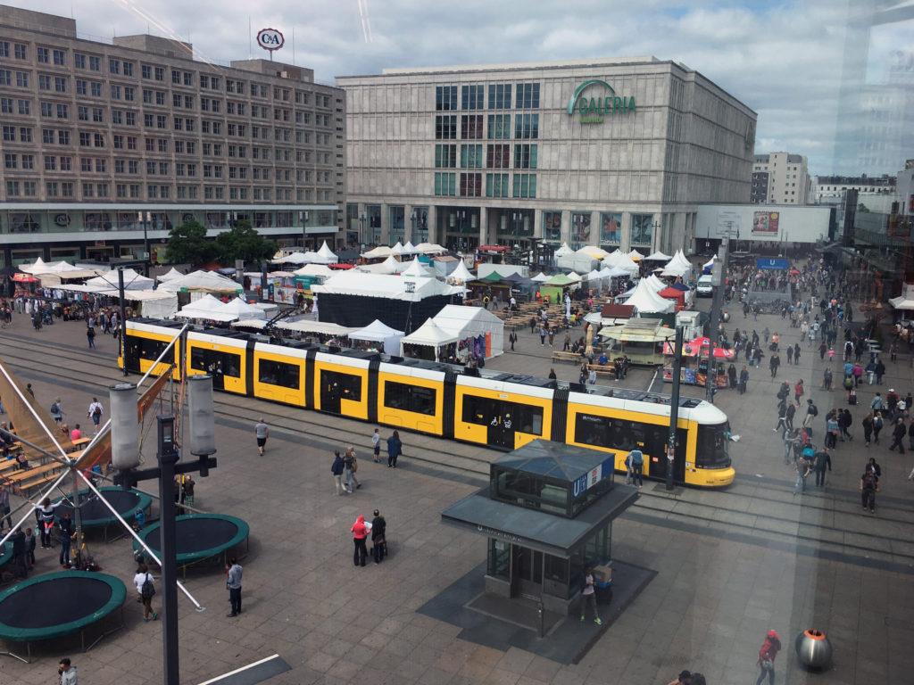 Berlin Public Transport: a Tram crossing Alexanderplatz