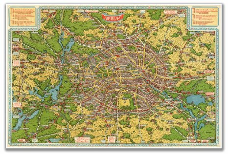 Birds Eye Map of Berlin circa 1931