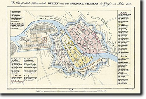 Vintage Map of Berlin From 1688