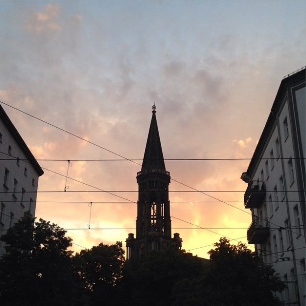 Berlin Zionskirche church sunset