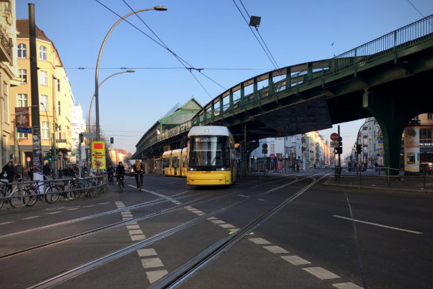 Berlin Winter: Tram at Kastanienallee Schoenhauser